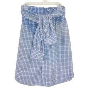 Handmade Shirt Skirt Plaid Ombré Bleach Tie Waist